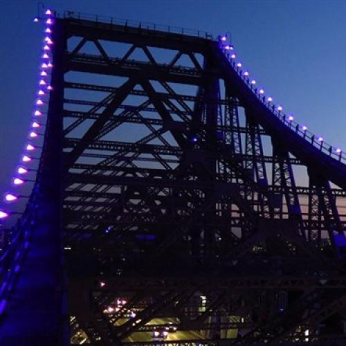 Brisbane's Story Bridge lit Blue for National Diabetes Week