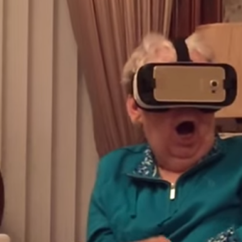 Grandma Gets Fright Of Her Life With Virtual Reality Glasses