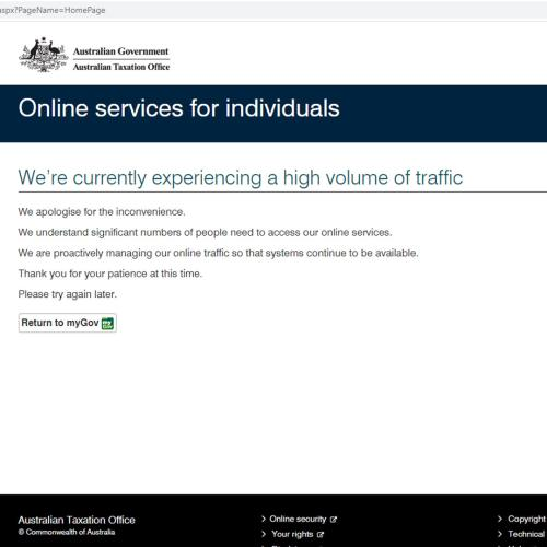 ATO Website Crashes Less Than Half An Hour Into The New Financial Year